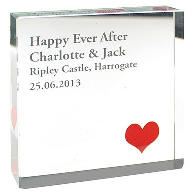 Bride & Groom' Large Red Heart Keepsake Glass Block   Personalised