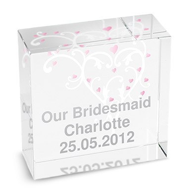 Bridesmaid Medium Heart Design Glass Block   Personalised