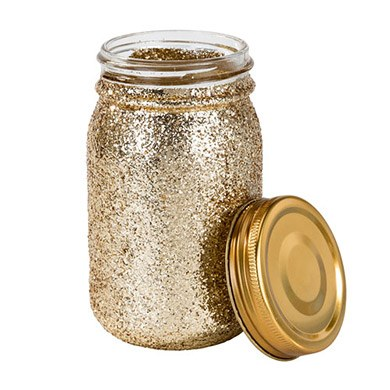 Gold Glitter Glass Mason Jar