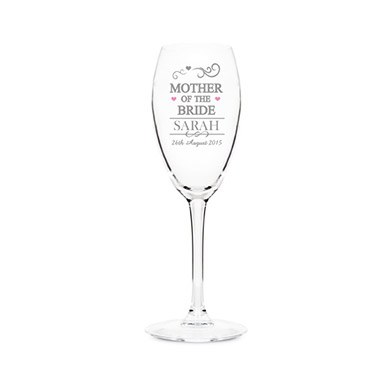 Personalized Mother of the Bride Glass Flute