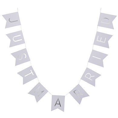 White And Silver Foil 'Just Married' Bunting