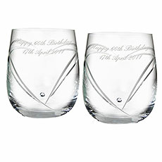 Diamante Heart Whiskey Glasses Personalized