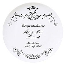 Ornate Swirl Wedding Plate Personalized