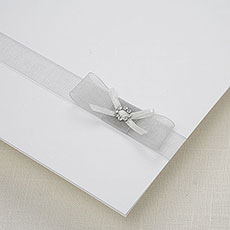 White Satin & Diamante Bow Trim Pack