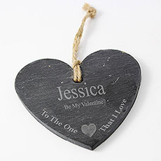 The One I Love Slate Heart Decoration