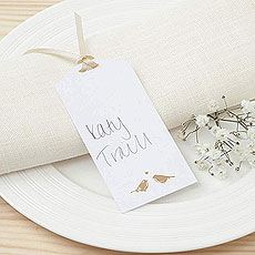 White and Gold Eco Chic Birds Design Place Card Tag - 10 Pack