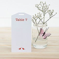 White and Red Eco Chic Birds Design Table Plan Tags 1-16