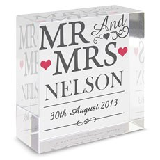 Mr & Mrs Personalized Glass Block