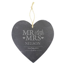 Mr & Mrs Personalized Slate Heart Decoration