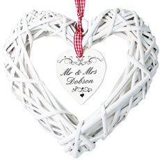 Ornate Silver Swirl Personalized Wicker Heart Decoration