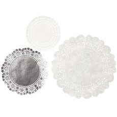 Doilies White & Silver - 24 Pack