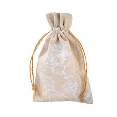 Burlap Favor Bag with Floral Print