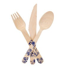 Wooden Cutlery with Blue Floral Delft Print