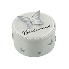 Bridesmaid Butterfly Silver Trinket Box