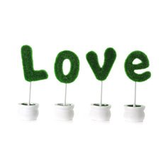 Mini 'LOVE' Topiary Tree Set