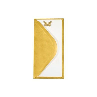DIY White Butterfly Invites & Gold Pearl Envelopes - 10 Pack