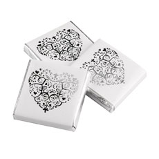 Individually Wrapped Lace Heart Chocolate Favor Squares Pack