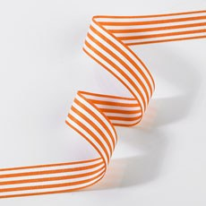 Striped Ribbon 16mm - Orange & White