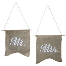 Mr & Mrs Hessian Flag Set