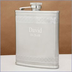 Geometric Design Engraved Silver Hip Flask