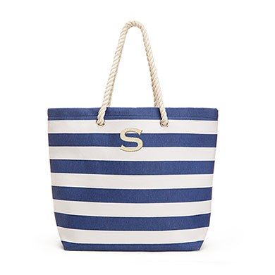 Extra Large Wide Stripe Cabana Tote Navy