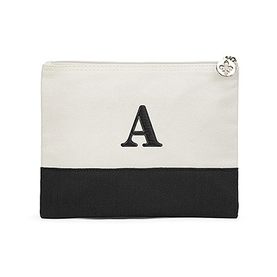Colorblock Large Zip Pouch Black