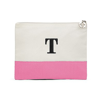 Colorblock Large Zip Pouch Hot Pink