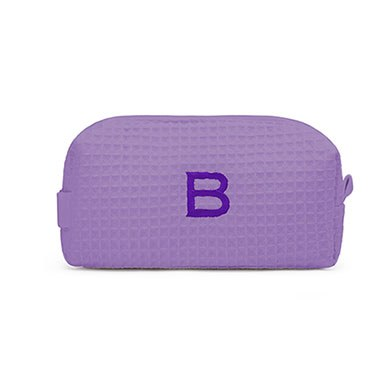 Small Cotton Waffle Cosmetic Bag Purple