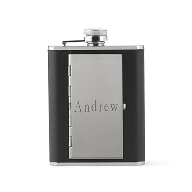 Black Leather Hip Flask With Cigarette Case