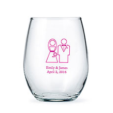 Large Stemless Wine Glass 15 oz - Printed