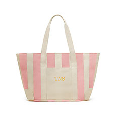 Large Striped Canvas Tote Bag - Pink