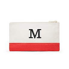 Colorblock Cosmetic Bag - Coral / Soft Red