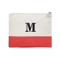 Colorblock Large Zip Pouch - Red