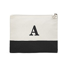 Colorblock Large Zip Pouch - Black