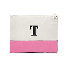 Colorblock Large Zip Pouch - Hot Pink