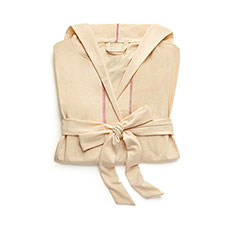 Saturday Hooded Lounge Robe - Oatmeal With Pink Stitching