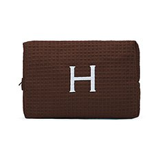Large Cotton Waffle Cosmetic Bag - Brown