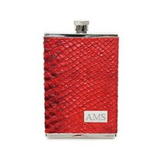 3 oz. Italian Leather Red Hip Flask with Personalized Initials