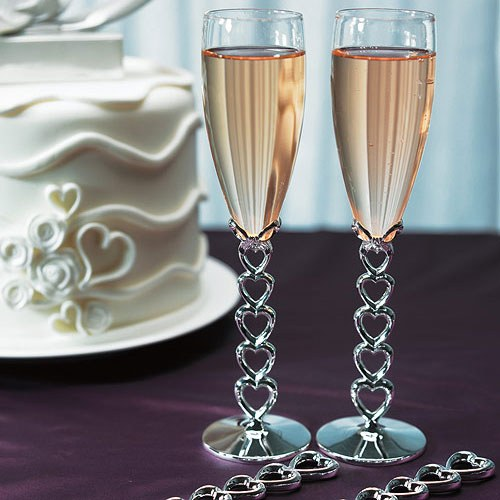 stacked hearts wedding flutes toasting glasses cake serving set ebay