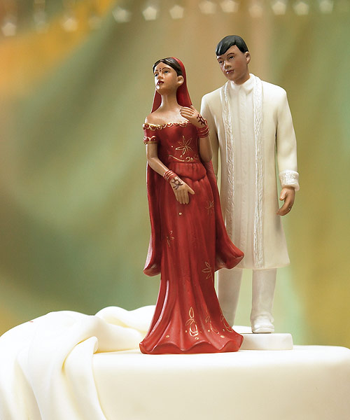 Traditional Indian Bride And Groom Wedding Cake Topper Figurine
