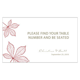 Autumn Leaf Wedding Escort Table Sign Card