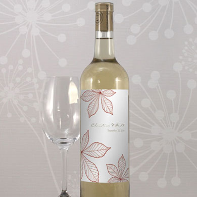 Autumn Leaf Wedding Wine Bottle Label