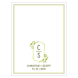 floral monogram wedding note card stationery