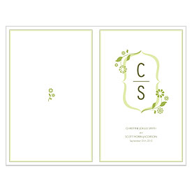 floral monogram wedding bulletin stationery