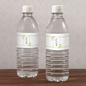 floral monogram wedding water bottle stationery