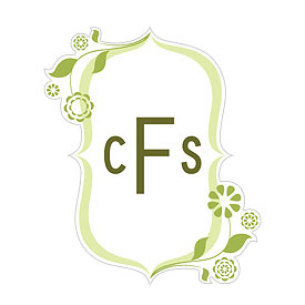 floral monogram small wedding cling stationery