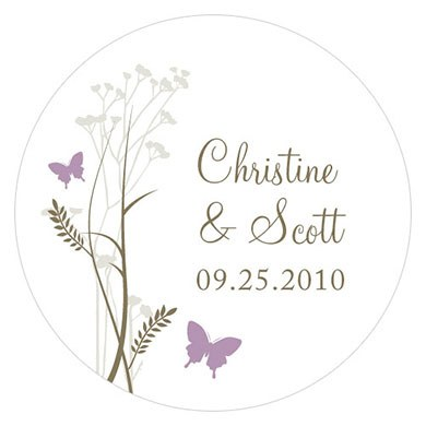 Romantic Butterfly Small Wedding Favor Sticker