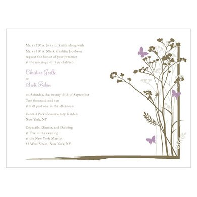 Romantic Butterfly Wedding Invitation