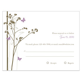 Romantic Butterfly Wedding RSVP Card