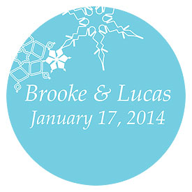 Winter Finery Small Wedding Favor Sticker